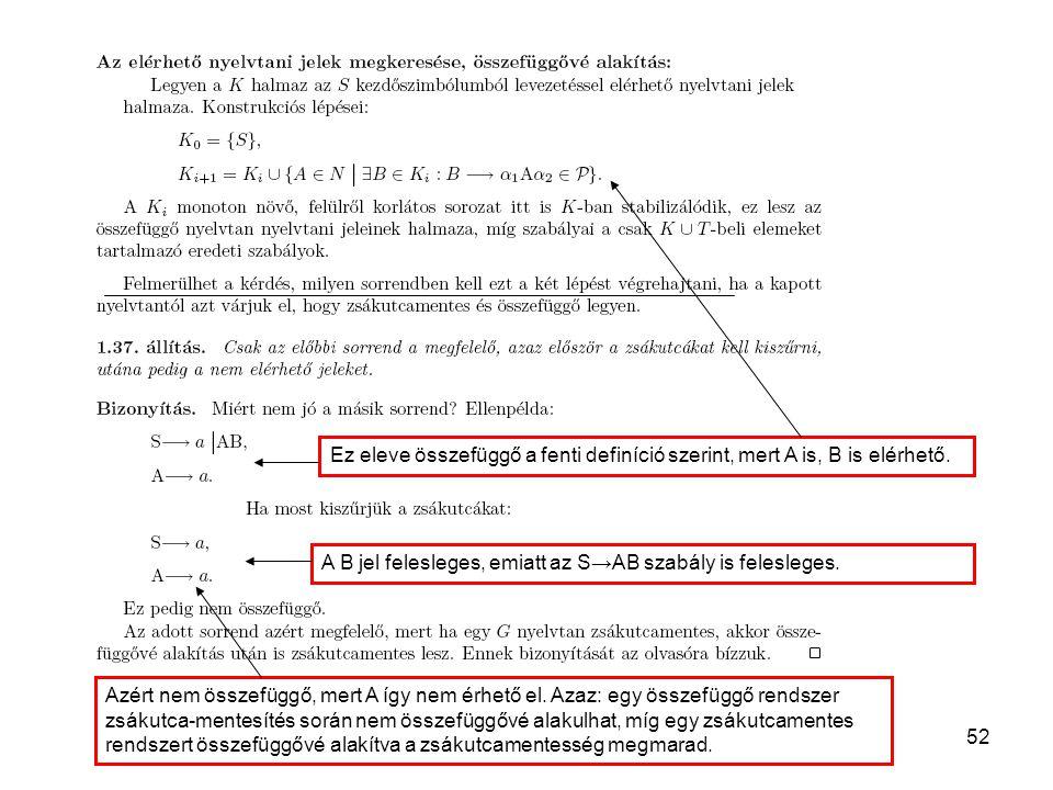 52 Ez eleve összefüggő a fenti definíció szerint, mert A is, B is elérhető. A B jel felesleges, emiatt az S→AB szabály is felesleges. Azért nem összef