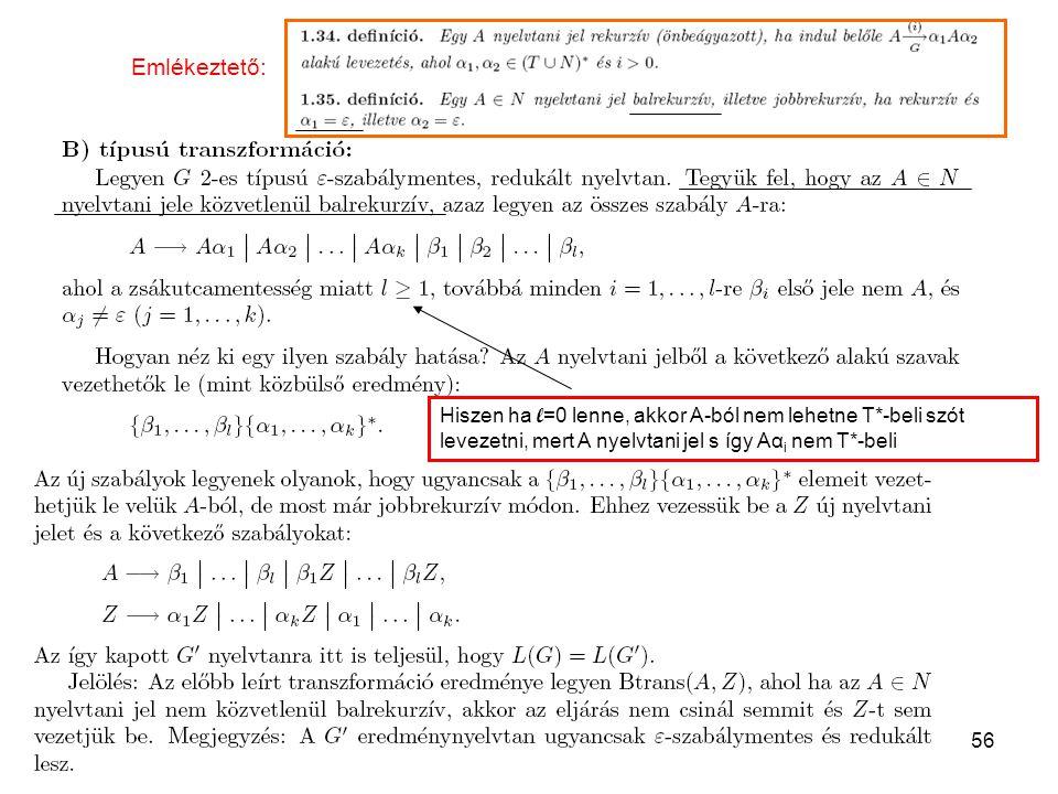56 Hiszen ha l =0 lenne, akkor A-ból nem lehetne T*-beli szót levezetni, mert A nyelvtani jel s így Aα i nem T*-beli Emlékeztető: