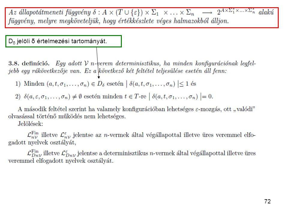 72 D δ jelöli δ értelmezési tartományát.