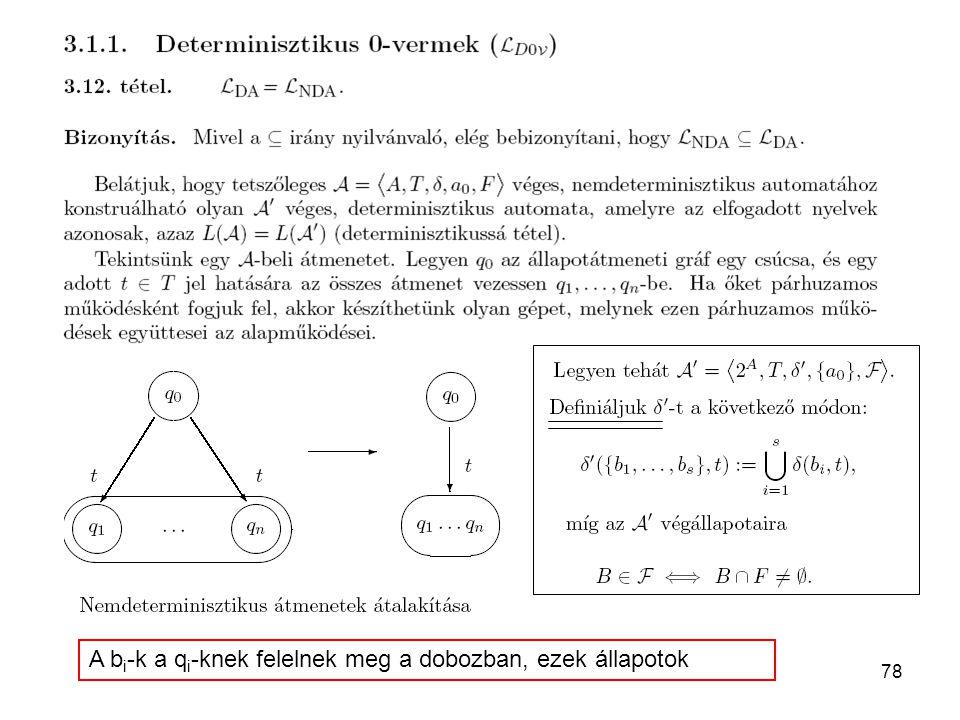 78 A b i -k a q i -knek felelnek meg a dobozban, ezek állapotok