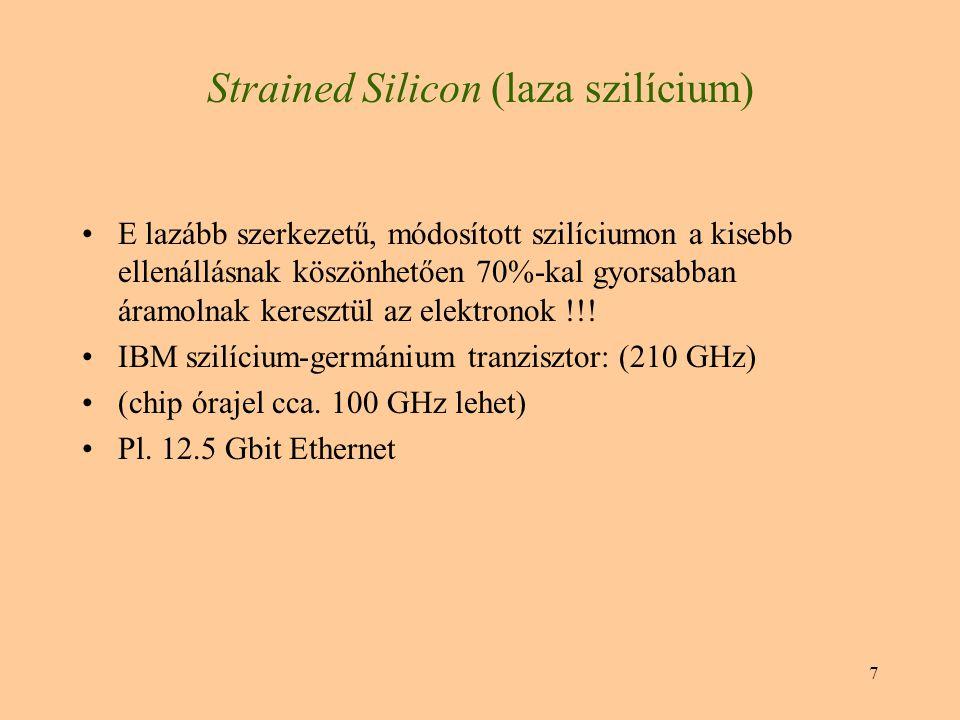7 E lazább szerkezetű, módosított szilíciumon a kisebb ellenállásnak köszönhetően 70%-kal gyorsabban áramolnak keresztül az elektronok !!! IBM szilíci