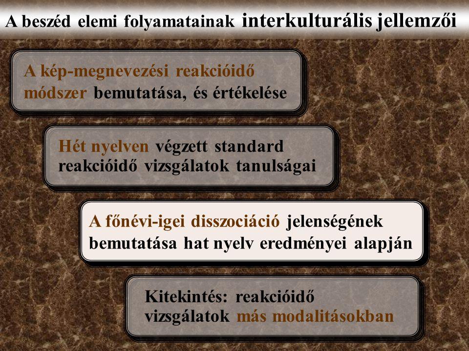 A beszéd elemi folyamatainak interkulturális jellemzői A kép-megnevezési reakcióidő módszer bemutatása, és értékelése A főnévi-igei disszociáció jelenségének bemutatása hat nyelv eredményei alapján Hét nyelven végzett standard reakcióidő vizsgálatok tanulságai Kitekintés: reakcióidő vizsgálatok más modalitásokban