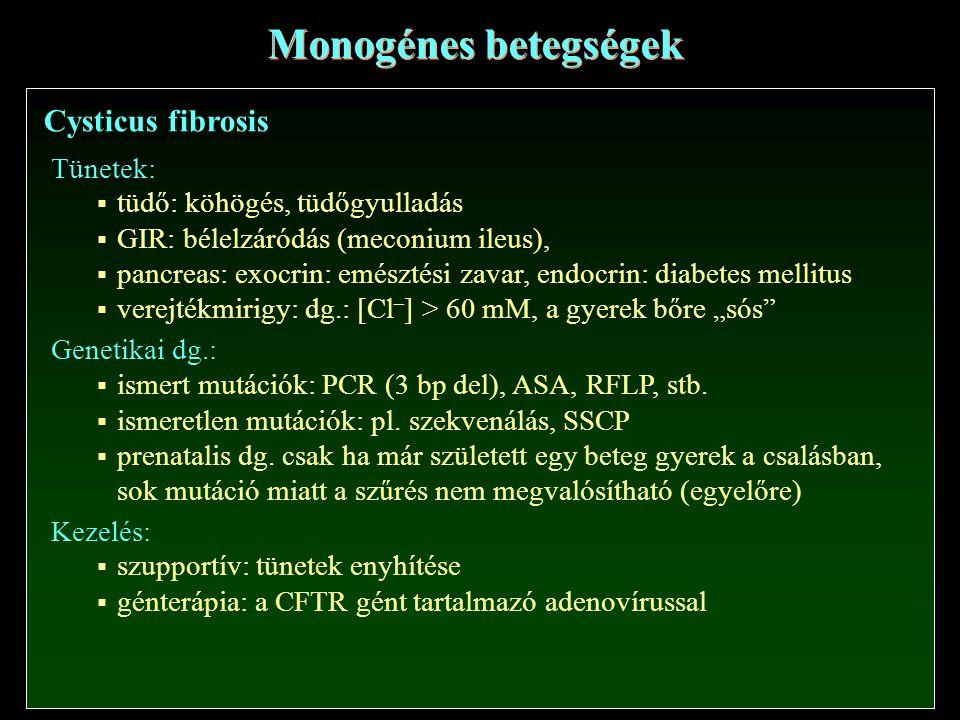 """Cysticus fibrosis Monogénes betegségek Tünetek:  tüdő: köhögés, tüdőgyulladás  GIR: bélelzáródás (meconium ileus),  pancreas: exocrin: emésztési zavar, endocrin: diabetes mellitus  verejtékmirigy: dg.: [Cl – ] > 60 mM, a gyerek bőre """"sós Genetikai dg.:  ismert mutációk: PCR (3 bp del), ASA, RFLP, stb."""