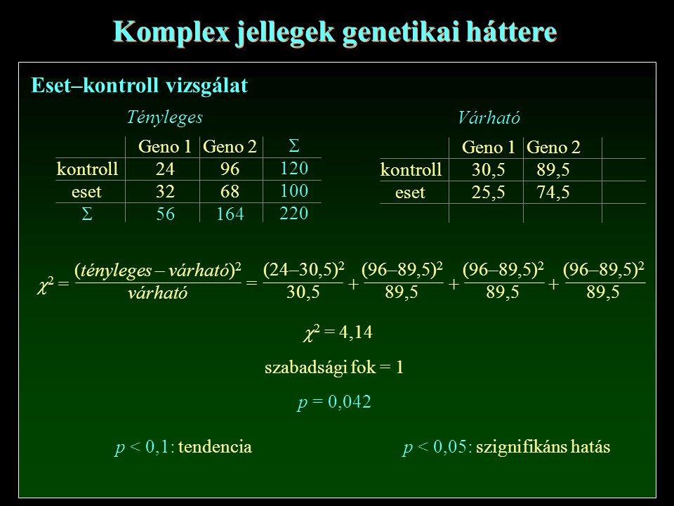 Eset–kontroll vizsgálat Komplex jellegek genetikai háttere Geno 1 24 32 56 Geno 2 96 68 164 kontroll eset  Tényleges  120 100 220 Geno 1 30,5 25,5 Geno 2 89,5 74,5 kontroll eset Várható  2 = (tényleges – várható) 2 várható == (24–30,5) 2 30,5 (96–89,5) 2 89,5 (96–89,5) 2 89,5 (96–89,5) 2 89,5 +++  2 = 4,14 szabadsági fok = 1 p = 0,042 p < 0,1: tendenciap < 0,05: szignifikáns hatás
