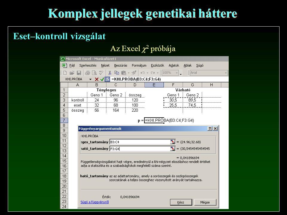 Eset–kontroll vizsgálat Komplex jellegek genetikai háttere Az Excel  2 próbája