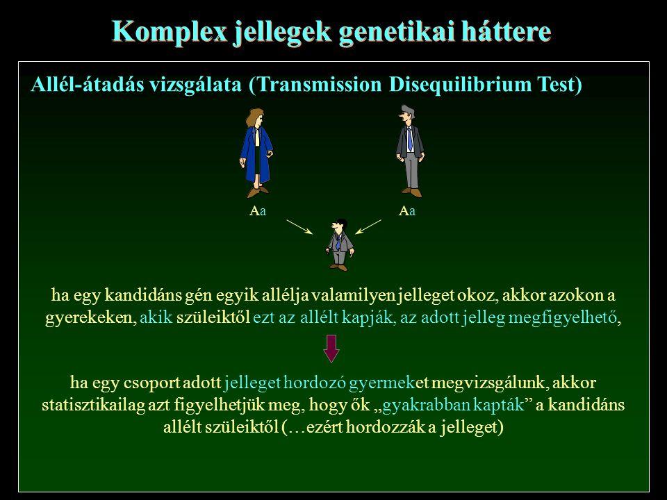 """Komplex jellegek genetikai háttere Allél-átadás vizsgálata (Transmission Disequilibrium Test) AaAaAaAa ha egy kandidáns gén egyik allélja valamilyen jelleget okoz, akkor azokon a gyerekeken, akik szüleiktől ezt az allélt kapják, az adott jelleg megfigyelhető, ha egy csoport adott jelleget hordozó gyermeket megvizsgálunk, akkor statisztikailag azt figyelhetjük meg, hogy ők """"gyakrabban kapták a kandidáns allélt szüleiktől (…ezért hordozzák a jelleget)"""