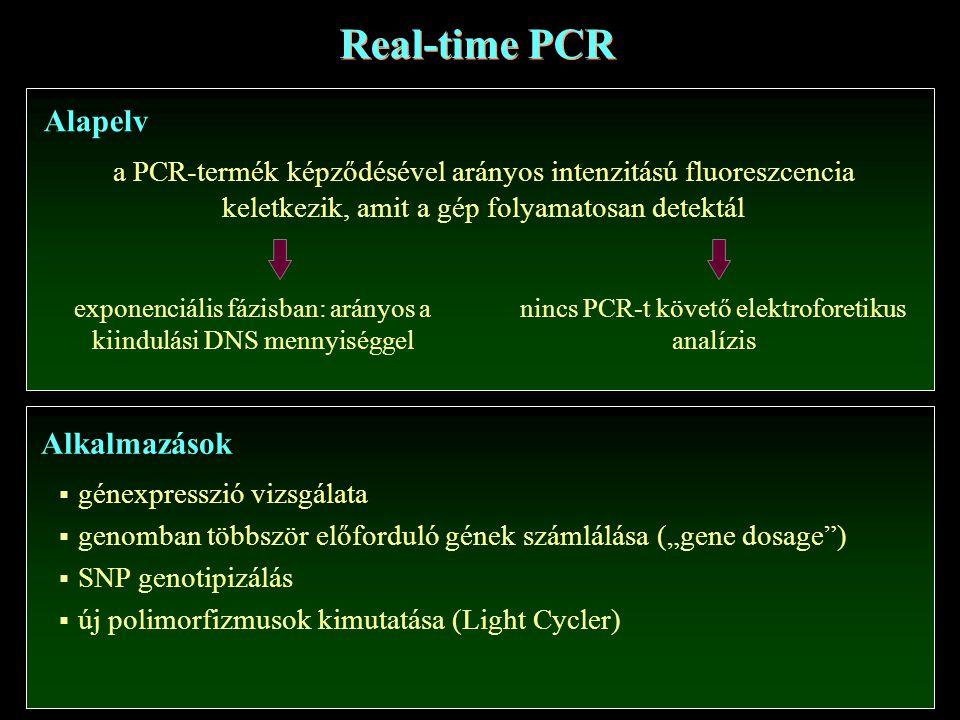 """Real-time PCR Alapelv a PCR-termék képződésével arányos intenzitású fluoreszcencia keletkezik, amit a gép folyamatosan detektál exponenciális fázisban: arányos a kiindulási DNS mennyiséggel nincs PCR-t követő elektroforetikus analízis Alkalmazások  génexpresszió vizsgálata  genomban többször előforduló gének számlálása (""""gene dosage )  SNP genotipizálás  új polimorfizmusok kimutatása (Light Cycler)"""