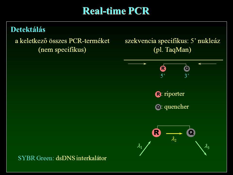 Real-time PCR Detektálás a keletkező összes PCR-terméket (nem specifikus) SYBR Green: dsDNS interkalátor szekvencia specifikus: 5' nukleáz (pl.