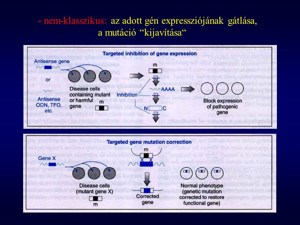 """- nem-klasszikus: az adott gén expressziójának gátlása, a mutáció """"kijavítása"""""""