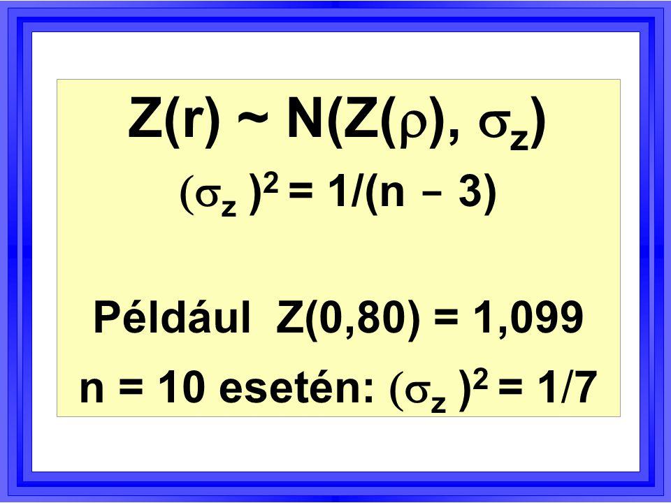   :  =     igaz volta esetén Z * N(0, 1) eloszlású