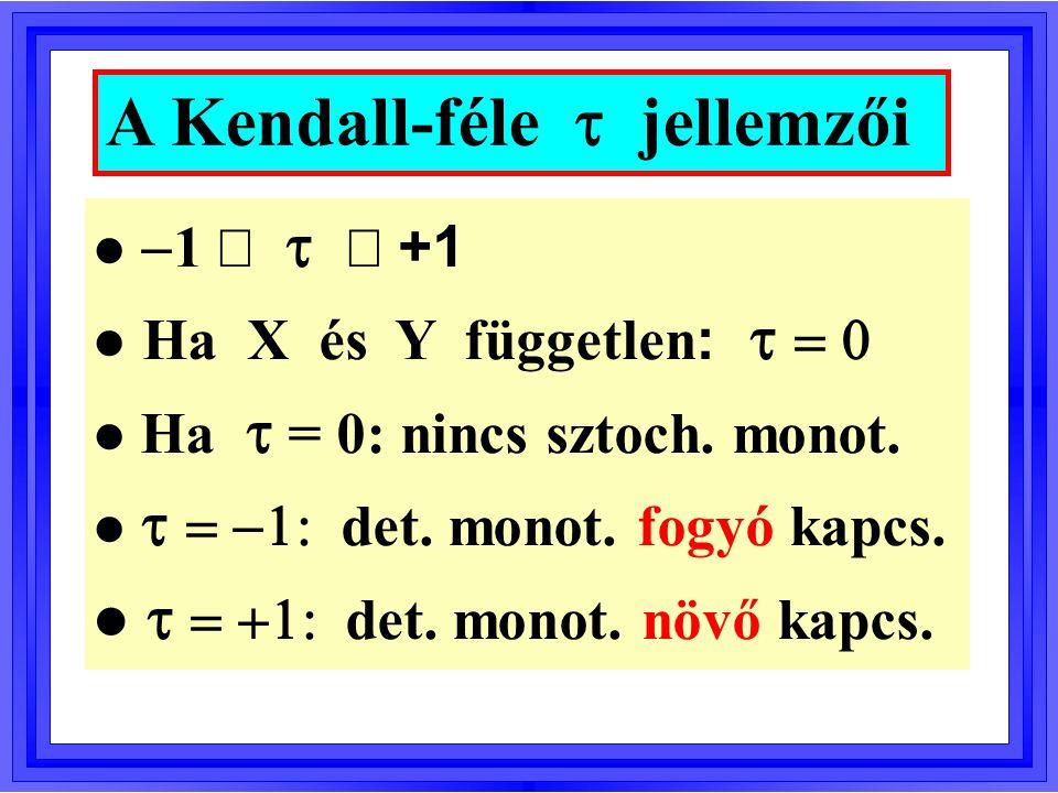 A Kendall-féle gamma monotonitási (asszociációs) együttható Diszkrét X és Y esetén javasolt