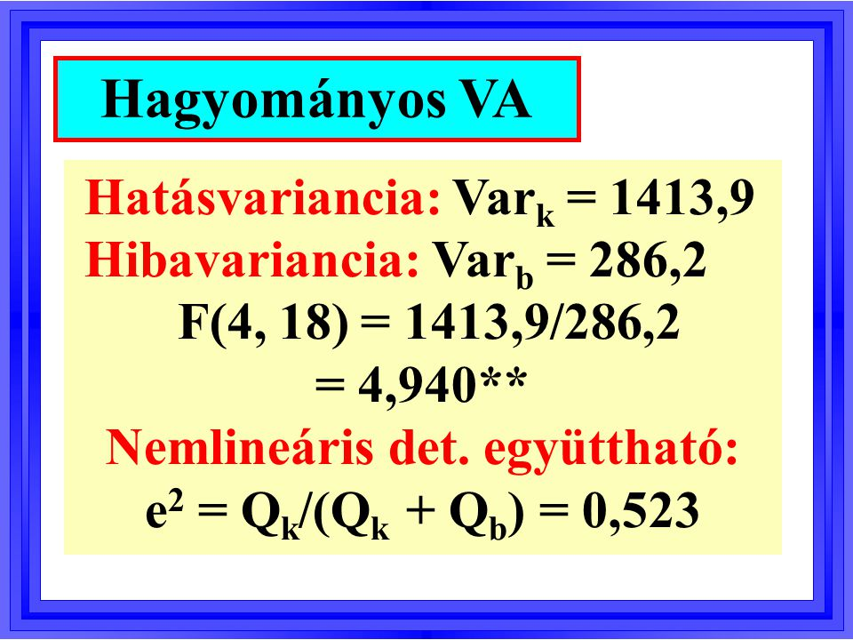 l Welch-próba: W(4, 8) = 5,544 * l James-próba: U = 27,851 + l Brown-Forsythe-próba: BF(4, 9) = 5,103 * Robusztus VA-k