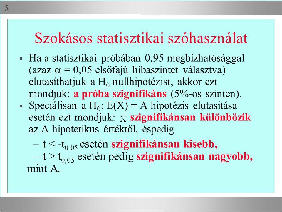  Szokásos statisztikai szóhasználat  Ha a statisztikai próbában 0,95 megbízhatósággal (azaz  = 0,05 elsőfajú hibaszintet választva) elutasíthatjuk