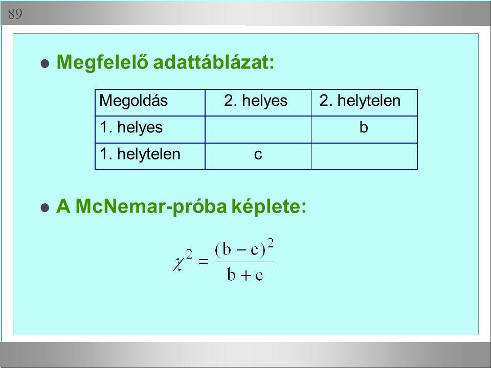  Megfelelő adattáblázat: Megoldás2. helyes2. helytelen 1. helyesb 1. helytelenc A McNemar-próba képlete: