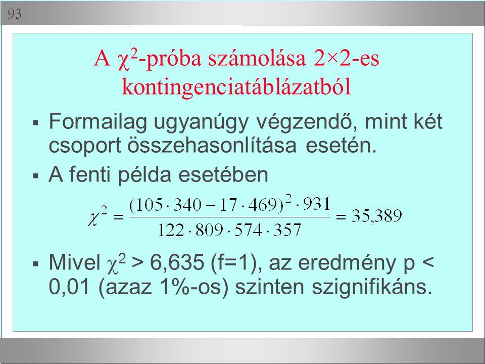  A  2 -próba számolása 2×2-es kontingenciatáblázatból  Formailag ugyanúgy végzendő, mint két csoport összehasonlítása esetén.  A fenti példa eset