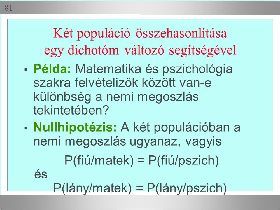  Két populáció összehasonlítása egy dichotóm változó segítségével  Példa: Matematika és pszichológia szakra felvételizők között van-e különbség a n