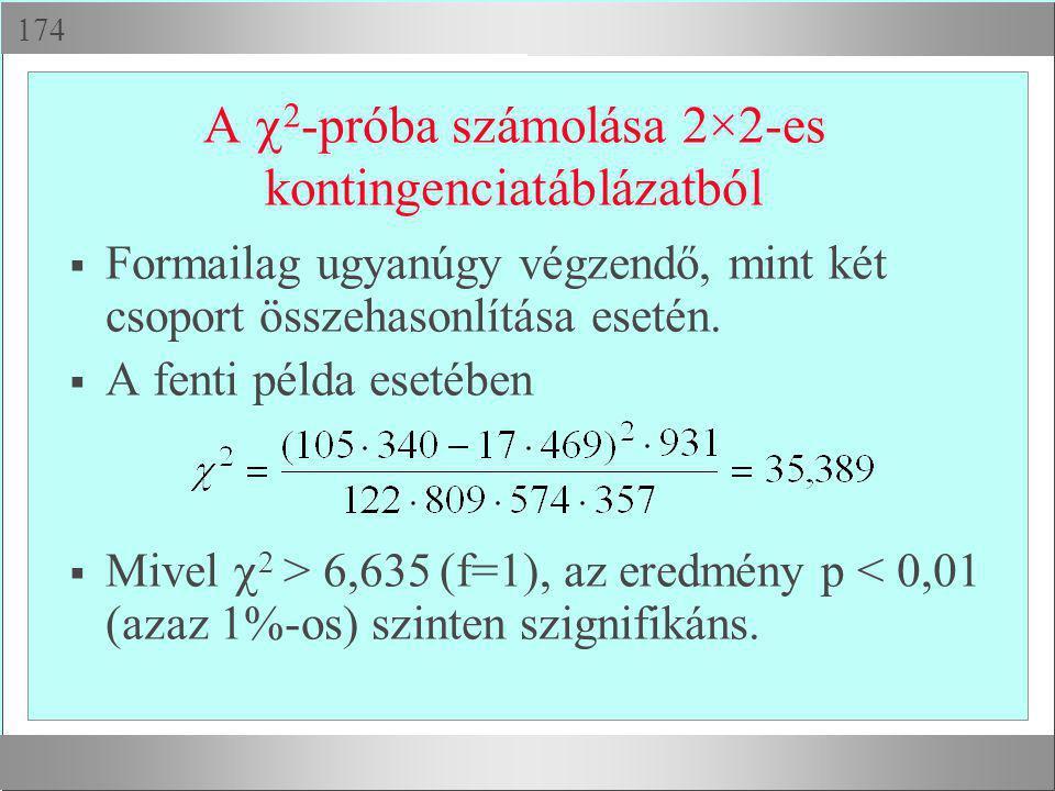  A  2 -próba számolása 2×2-es kontingenciatáblázatból  Formailag ugyanúgy végzendő, mint két csoport összehasonlítása esetén.  A fenti példa ese
