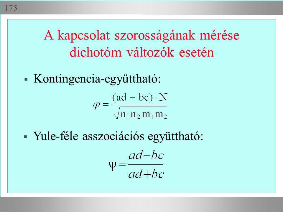  A kapcsolat szorosságának mérése dichotóm változók esetén  Kontingencia-együttható:  Yule-féle asszociációs együttható: