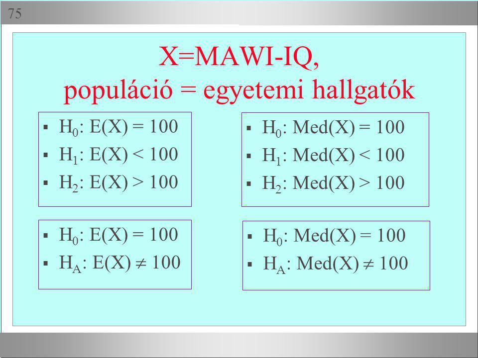  X=MAWI-IQ, populáció = egyetemi hallgatók  H 0 : E(X) = 100  H 1 : E(X) < 100  H 2 : E(X) > 100  H 0 : Med(X) = 100  H 1 : Med(X) < 100  H 2