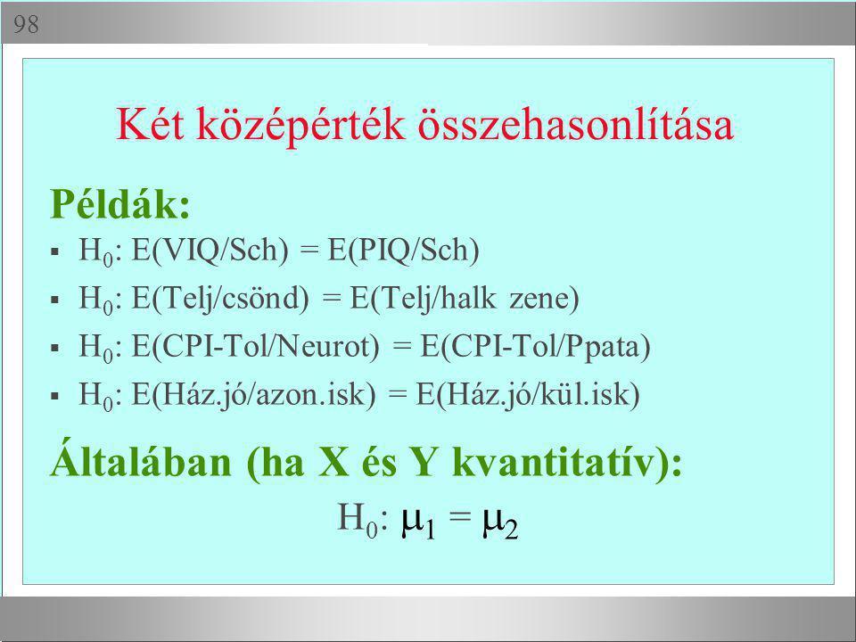  Két középérték összehasonlítása Példák:  H 0 : E(VIQ/Sch) = E(PIQ/Sch)  H 0 : E(Telj/csönd) = E(Telj/halk zene)  H 0 : E(CPI-Tol/Neurot) = E(CPI