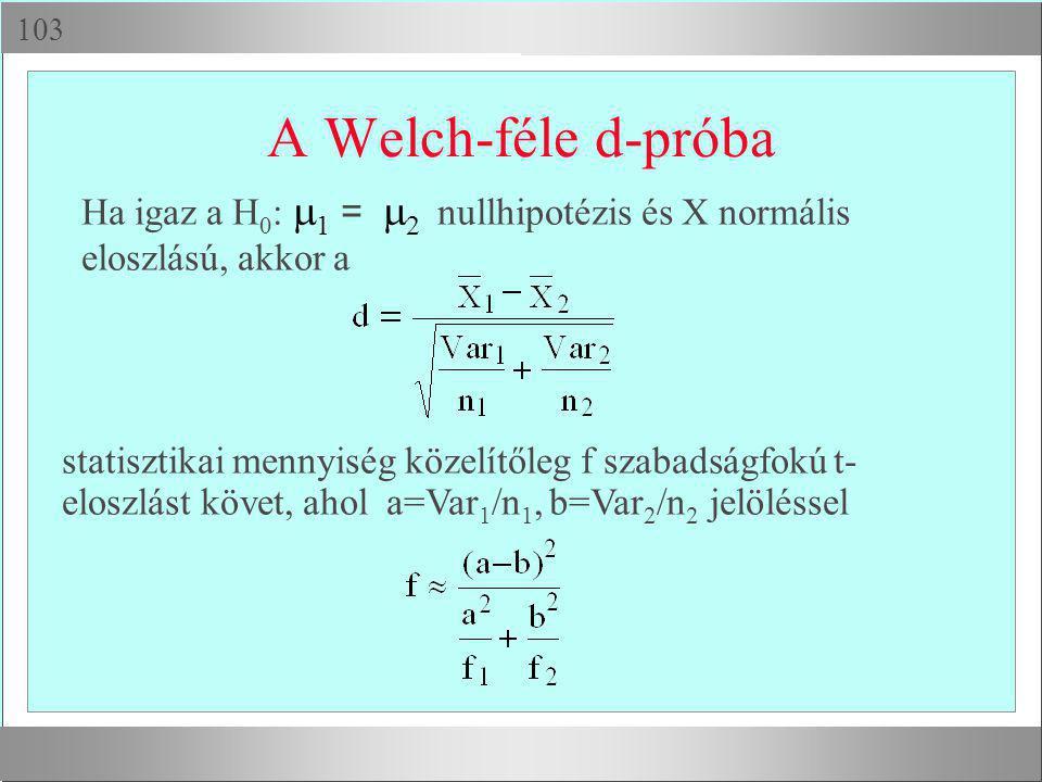  A Welch-féle d-próba Ha igaz a H 0 :  1 =  2 nullhipotézis és X normális eloszlású, akkor a statisztikai mennyiség közelítőleg f szabadságfokú t
