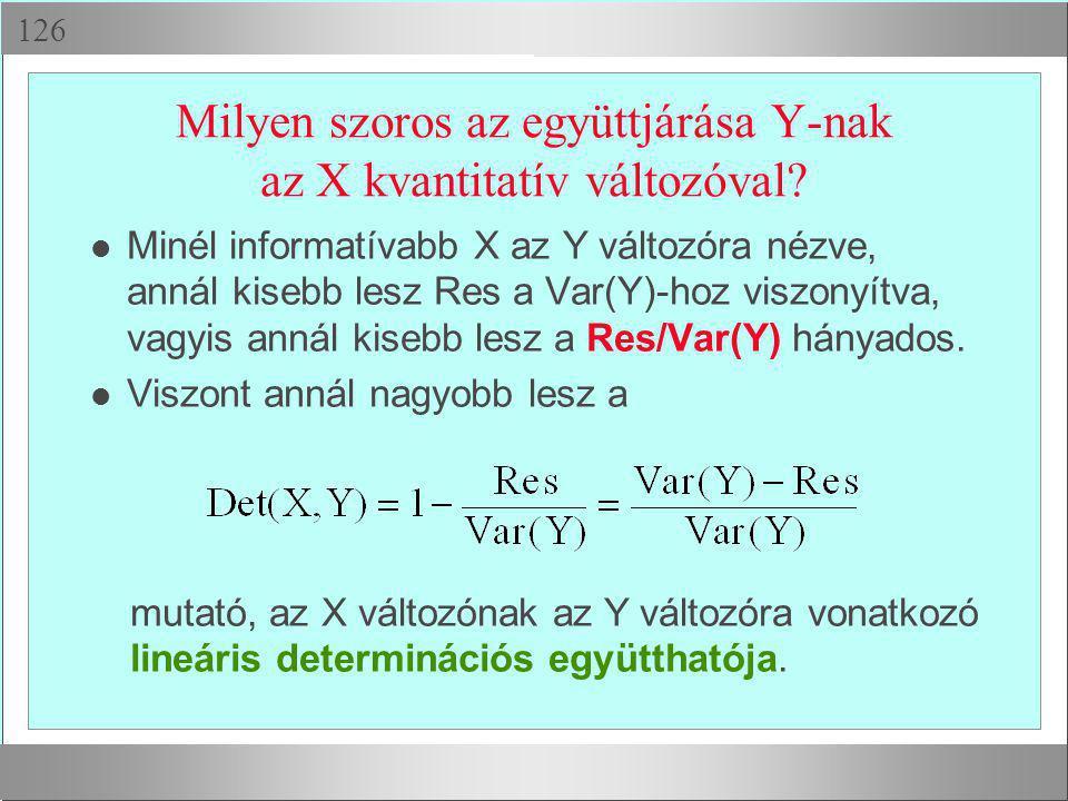  Milyen szoros az együttjárása Y-nak az X kvantitatív változóval? Minél informatívabb X az Y változóra nézve, annál kisebb lesz Res a Var(Y)-hoz vi