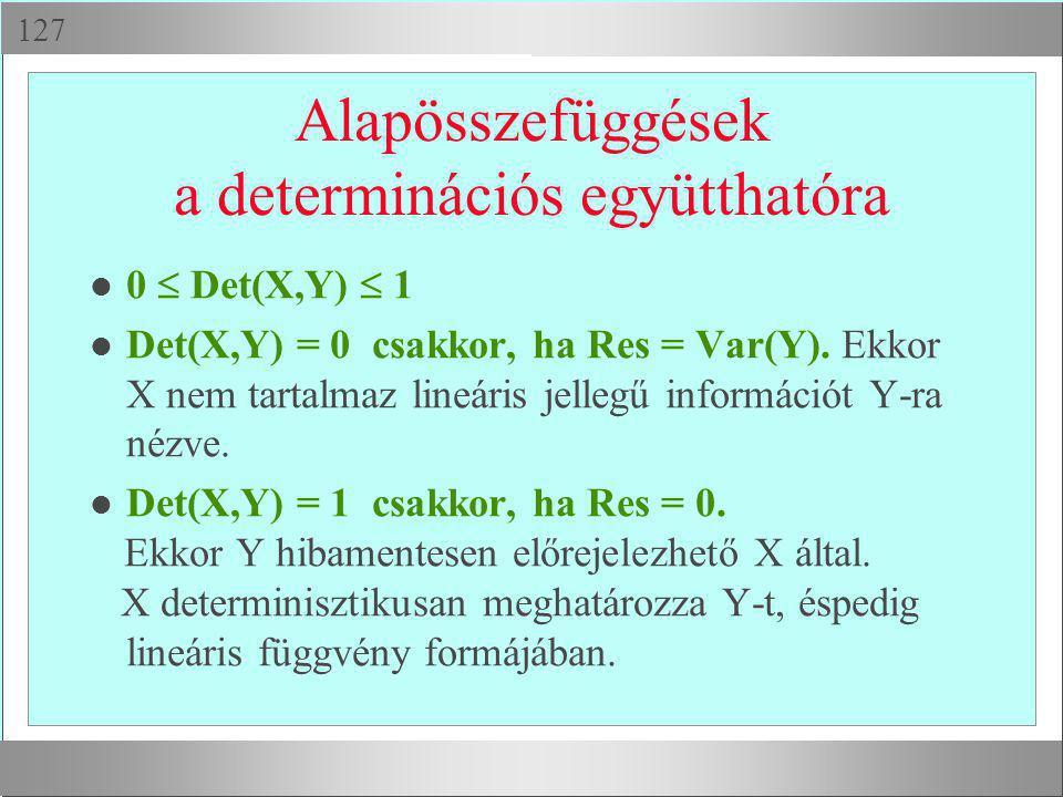  Alapösszefüggések a determinációs együtthatóra 0  Det(X,Y)  1 l Det(X,Y) = 0 csakkor, ha Res = Var(Y). Ekkor X nem tartalmaz lineáris jellegű in