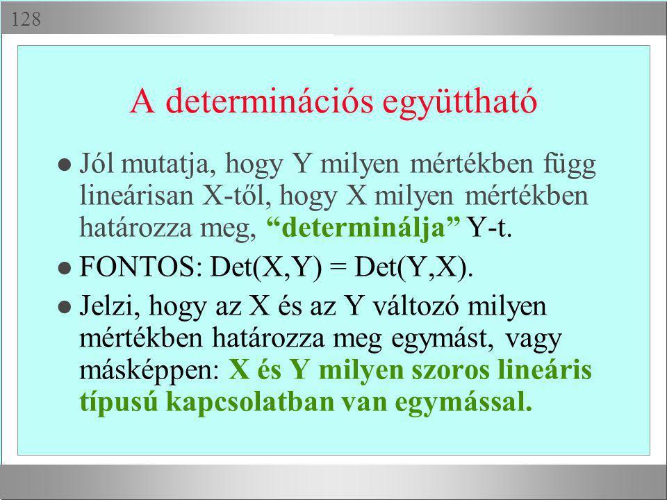 """ A determinációs együttható l Jól mutatja, hogy Y milyen mértékben függ lineárisan X-től, hogy X milyen mértékben határozza meg, """"determinálja"""" Y-t"""