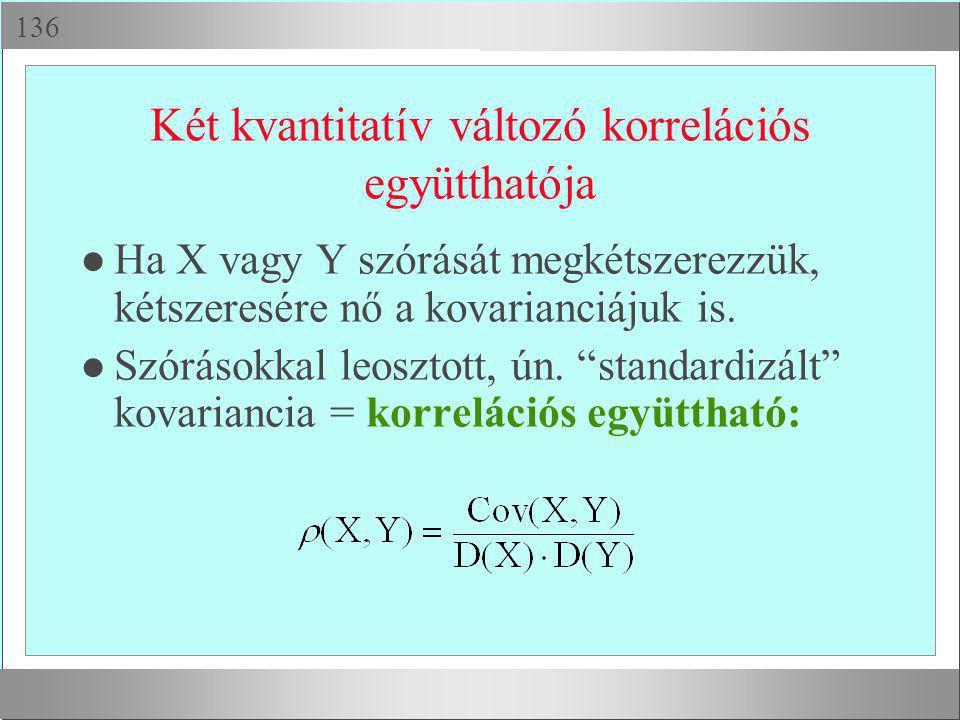  Két kvantitatív változó korrelációs együtthatója l Ha X vagy Y szórását megkétszerezzük, kétszeresére nő a kovarianciájuk is. l Szórásokkal leoszt