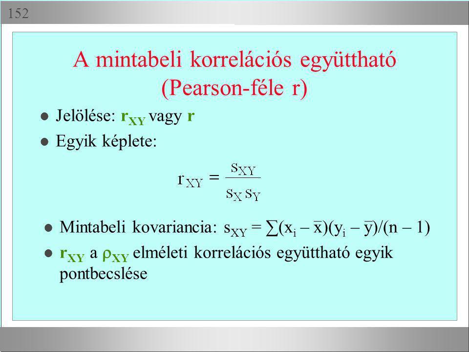  A mintabeli korrelációs együttható (Pearson-féle r) l Jelölése: r XY vagy r l Egyik képlete: l Mintabeli kovariancia: s XY = ∑(x i – x)(y i – y)/(