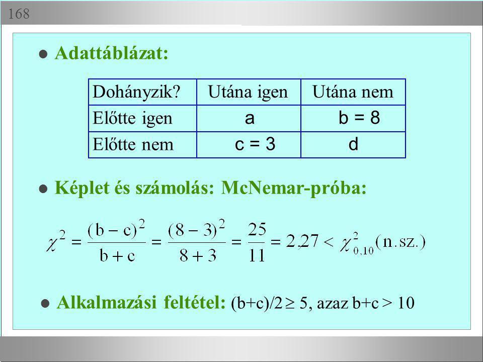  l Adattáblázat: Dohányzik?Utána igenUtána nem Előtte igen ab = 8 Előtte nem c = 3d l Képlet és számolás: McNemar-próba: Alkalmazási feltétel: (b+c