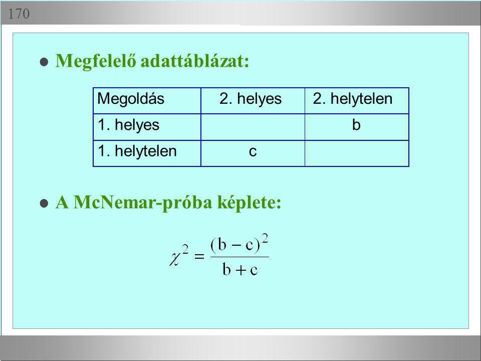  l Megfelelő adattáblázat: Megoldás2. helyes2. helytelen 1. helyesb 1. helytelenc l A McNemar-próba képlete: