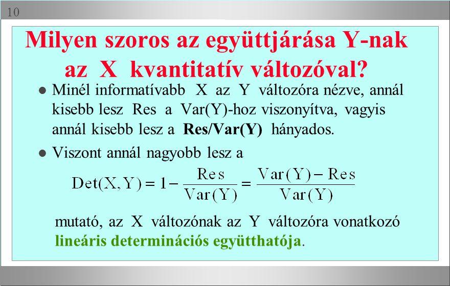  Milyen szoros az együttjárása Y-nak az X kvantitatív változóval.