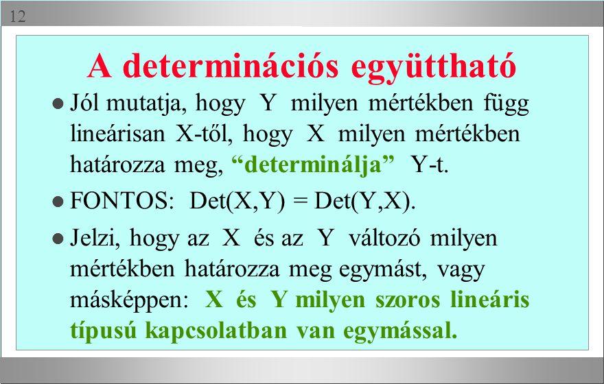  A determinációs együttható l Jól mutatja, hogy Y milyen mértékben függ lineárisan X-től, hogy X milyen mértékben határozza meg, determinálja Y-t.