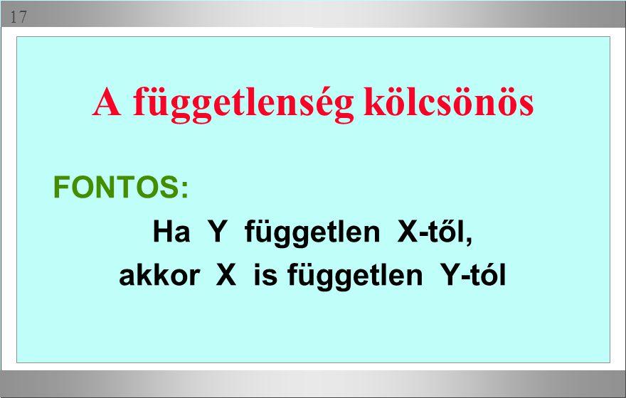  A függetlenség kölcsönös FONTOS: Ha Y független X-től, akkor X is független Y-tól