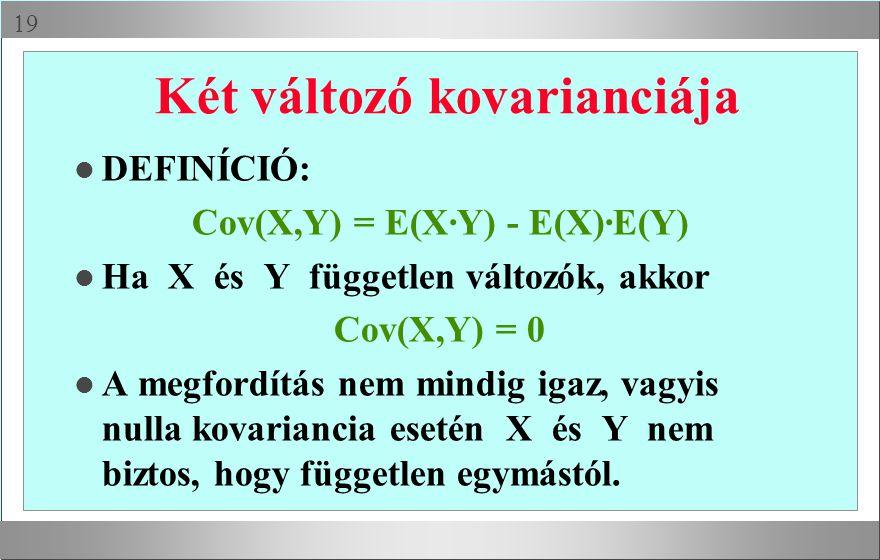  Két változó kovarianciája l DEFINÍCIÓ: Cov(X,Y) = E(X·Y) - E(X)·E(Y) l Ha X és Y független változók, akkor Cov(X,Y) = 0 l A megfordítás nem mindig igaz, vagyis nulla kovariancia esetén X és Y nem biztos, hogy független egymástól.