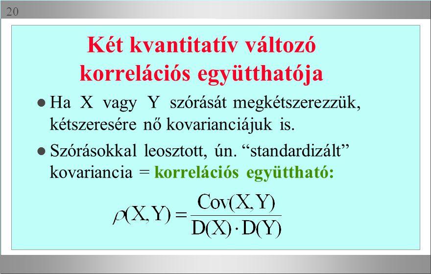  Két kvantitatív változó korrelációs együtthatója l Ha X vagy Y szórását megkétszerezzük, kétszeresére nő kovarianciájuk is.