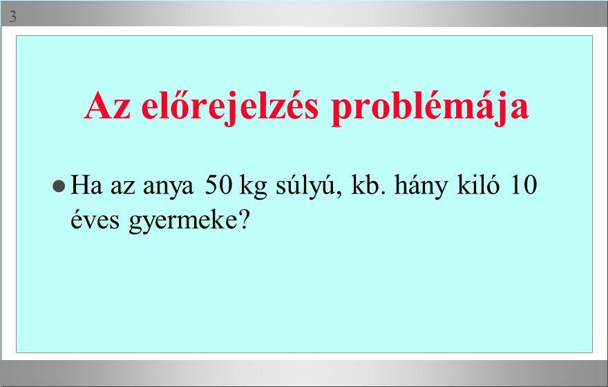  Az előrejelzés problémája l Ha az anya 50 kg súlyú, kb. hány kiló 10 éves gyermeke?