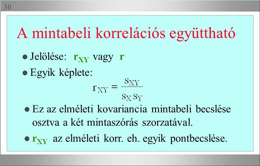  A mintabeli korrelációs együttható l Jelölése: r XY vagy r l Egyik képlete: l Ez az elméleti kovariancia mintabeli becslése osztva a két mintaszórás szorzatával.