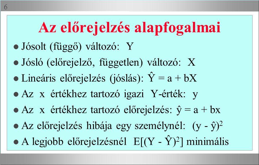  Az előrejelzés alapfogalmai l Jósolt (függő) változó: Y l Jósló (előrejelző, független) változó: X l Lineáris előrejelzés (jóslás): Ŷ = a + bX l Az x értékhez tartozó igazi Y-érték: y l Az x értékhez tartozó előrejelzés: ŷ = a + bx l Az előrejelzés hibája egy személynél: (y - ŷ) 2 l A legjobb előrejelzésnél E[(Y - Ŷ) 2 ] minimális