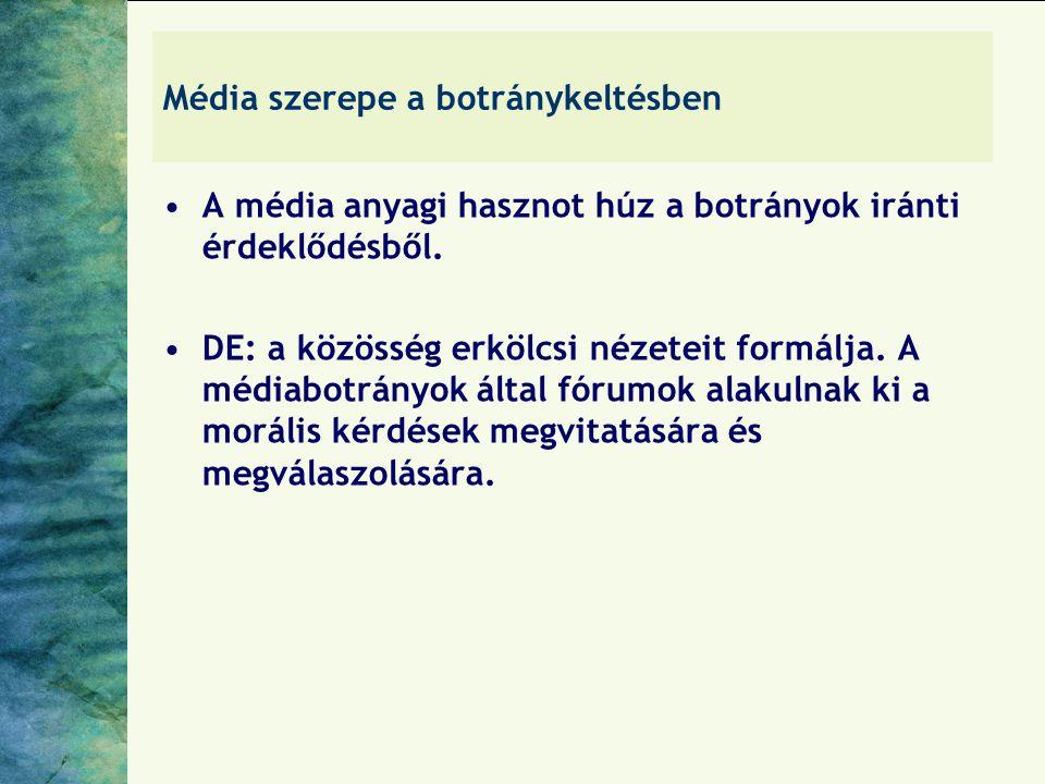 Média szerepe a botránykeltésben A média anyagi hasznot húz a botrányok iránti érdeklődésből. DE: a közösség erkölcsi nézeteit formálja. A médiabotrán