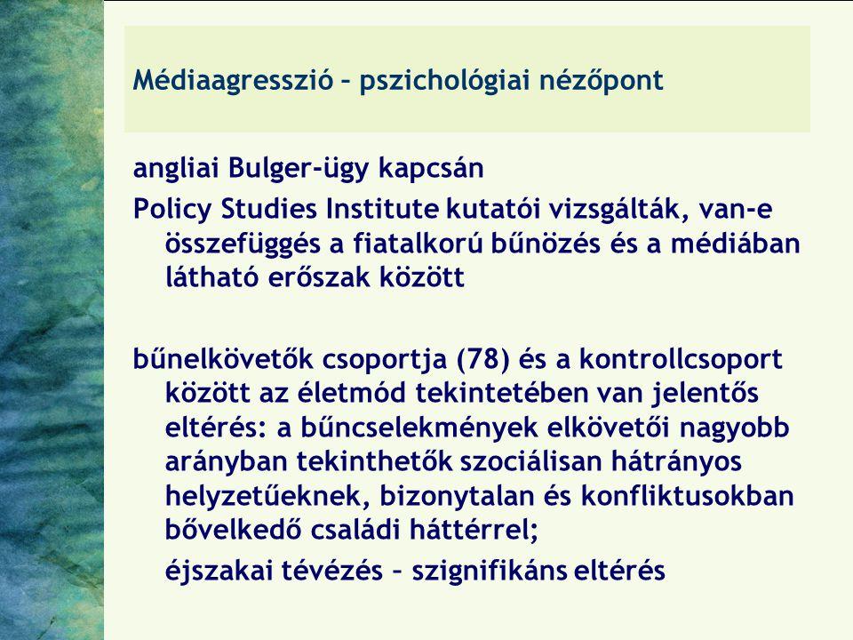 Médiaagresszió – pszichológiai nézőpont angliai Bulger-ügy kapcsán Policy Studies Institute kutatói vizsgálták, van-e összefüggés a fiatalkorú bűnözés és a médiában látható erőszak között bűnelkövetők csoportja (78) és a kontrollcsoport között az életmód tekintetében van jelentős eltérés: a bűncselekmények elkövetői nagyobb arányban tekinthetők szociálisan hátrányos helyzetűeknek, bizonytalan és konfliktusokban bővelkedő családi háttérrel; éjszakai tévézés – szignifikáns eltérés
