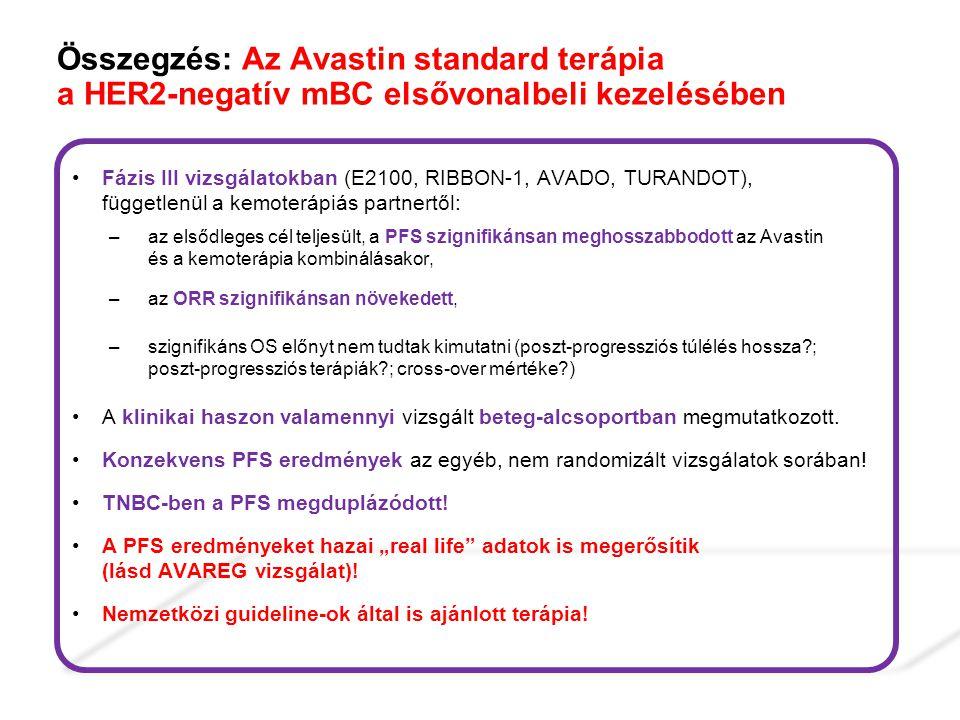 Összegzés: Az Avastin standard terápia a HER2-negatív mBC elsővonalbeli kezelésében Fázis III vizsgálatokban (E2100, RIBBON-1, AVADO, TURANDOT), függe