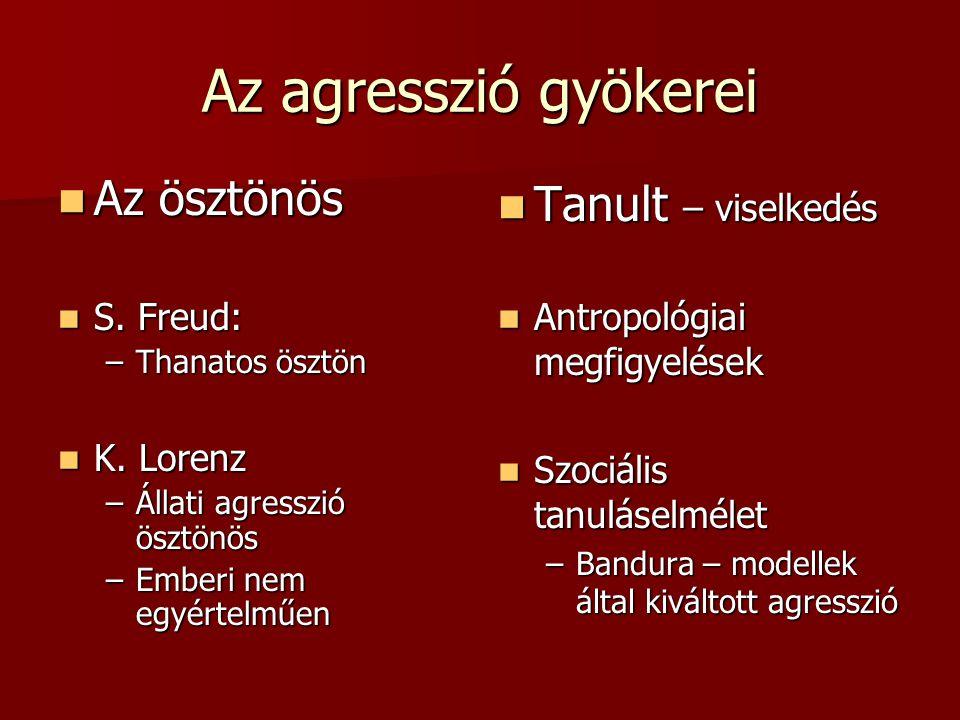 Az agresszió gyökerei Az ösztönös Az ösztönös S.Freud: S.