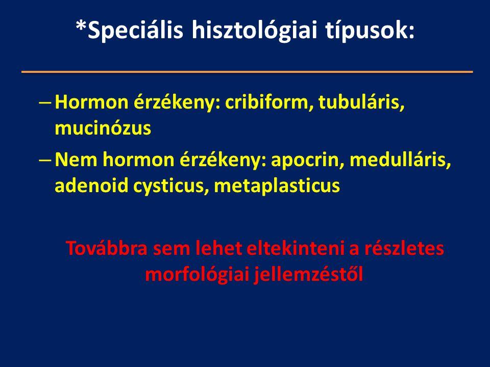 *Speciális hisztológiai típusok: – Hormon érzékeny: cribiform, tubuláris, mucinózus – Nem hormon érzékeny: apocrin, medulláris, adenoid cysticus, meta