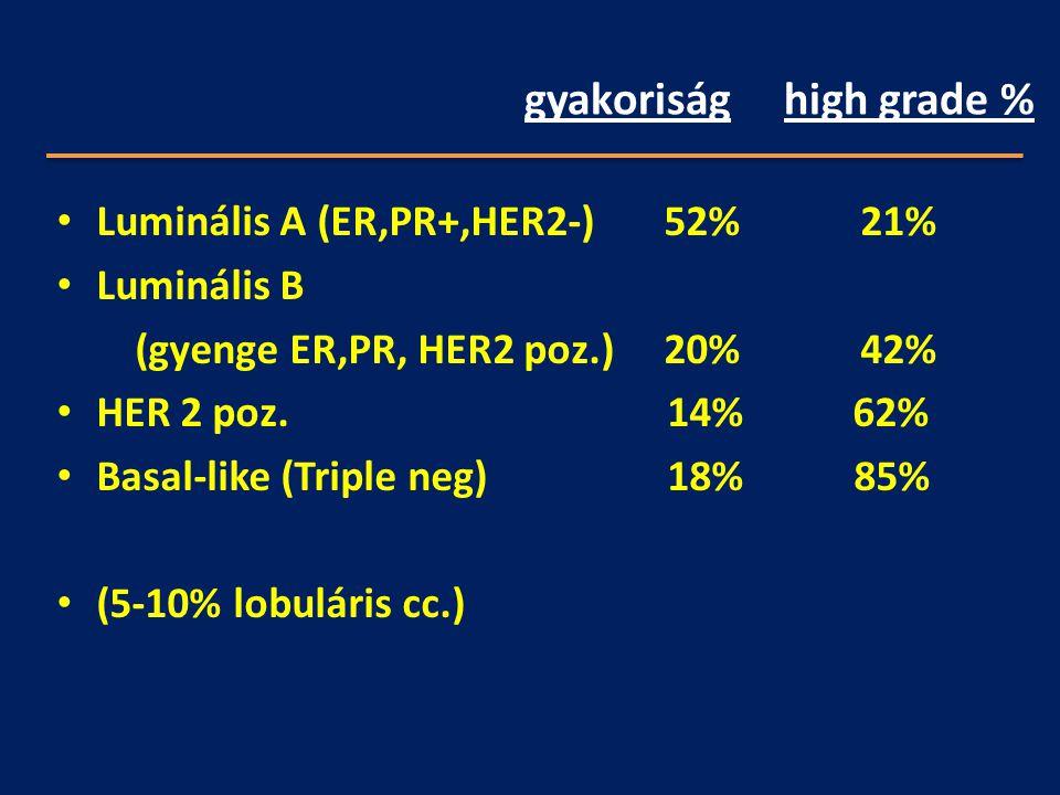 gyakoriság high grade % Luminális A (ER,PR+,HER2-) 52% 21% Luminális B (gyenge ER,PR, HER2 poz.) 20% 42% HER 2 poz. 14% 62% Basal-like (Triple neg) 18