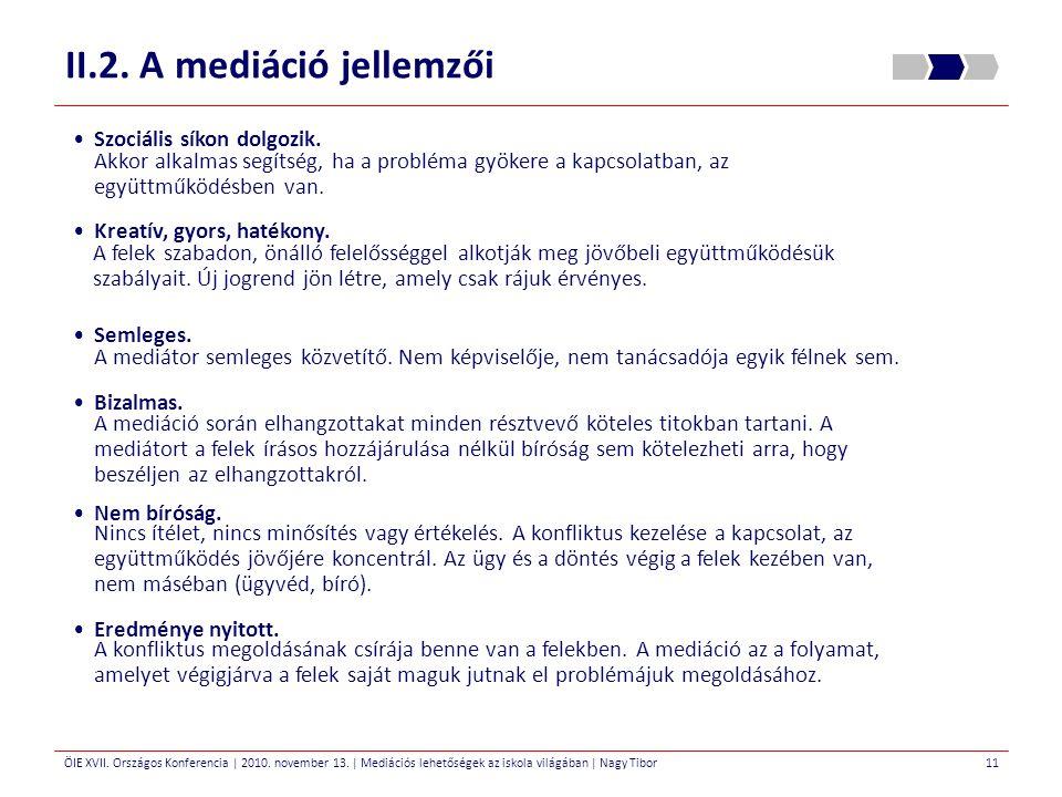 ÖIE XVII. Országos Konferencia | 2010. november 13. | Mediációs lehetőségek az iskola világában | Nagy Tibor II.2. A mediáció jellemzői 11 Szociális s
