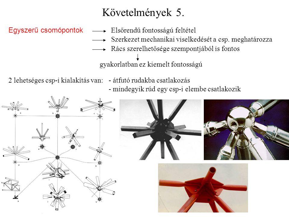 Követelmények 5. Egyszerű csomópontok Elsőrendű fontosságú feltétel Szerkezet mechanikai viselkedését a csp. meghatározza Rács szerelhetősége szempont