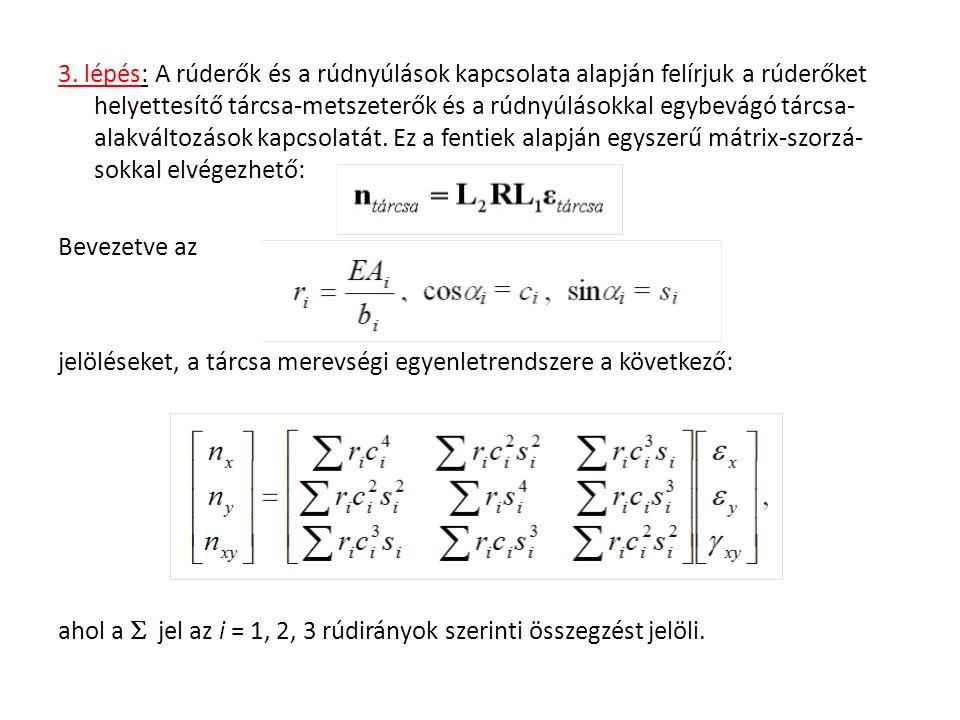 Az mátrixot a rács helyettesítő merevségi mátrixának nevezzük.
