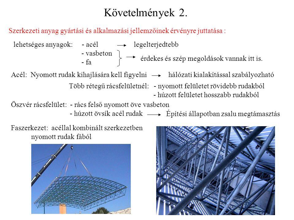 Követelmények 2. Szerkezeti anyag gyártási és alkalmazási jellemzőinek érvényre juttatása : lehetséges anyagok: - acél - vasbeton - fa legelterjedtebb